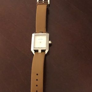 Tory Burch Dalloway brown leather watch